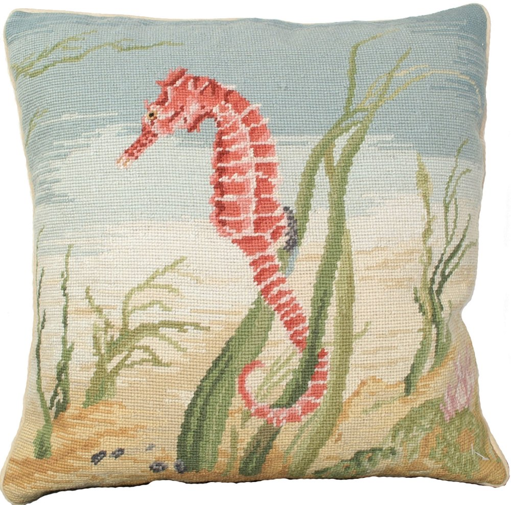 Image of: Needlepoint Pillows Seahorse