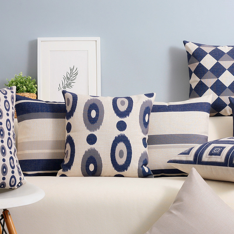 Image of: Nordic Navy Blue Throw Pillows
