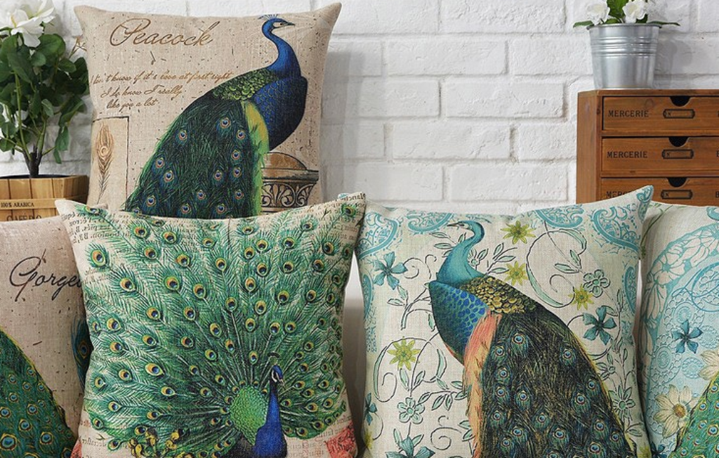 Image of: Peacock Pillow Covers