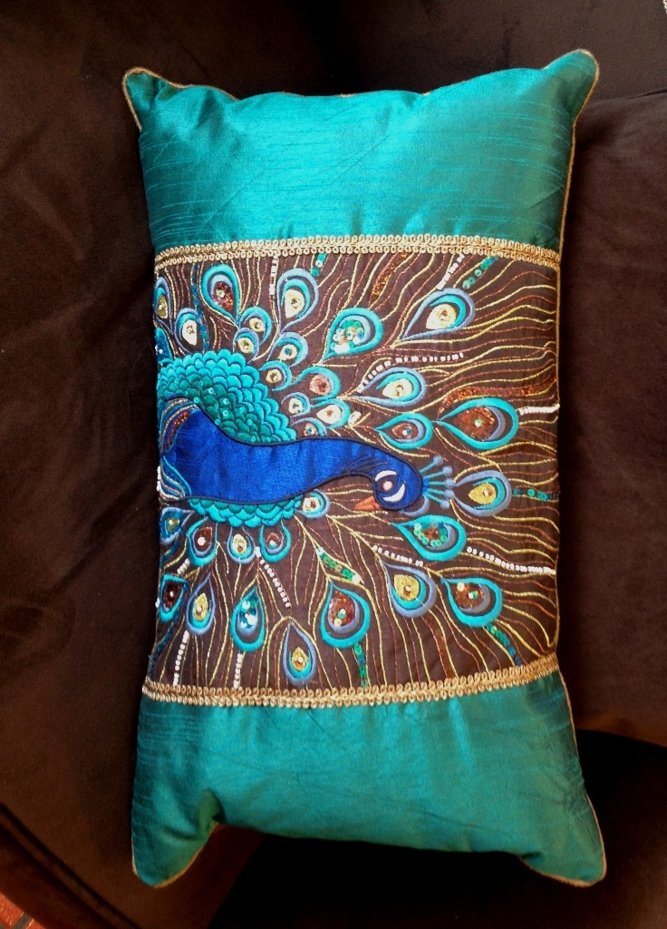 Image of: Peacock Pillow Panels