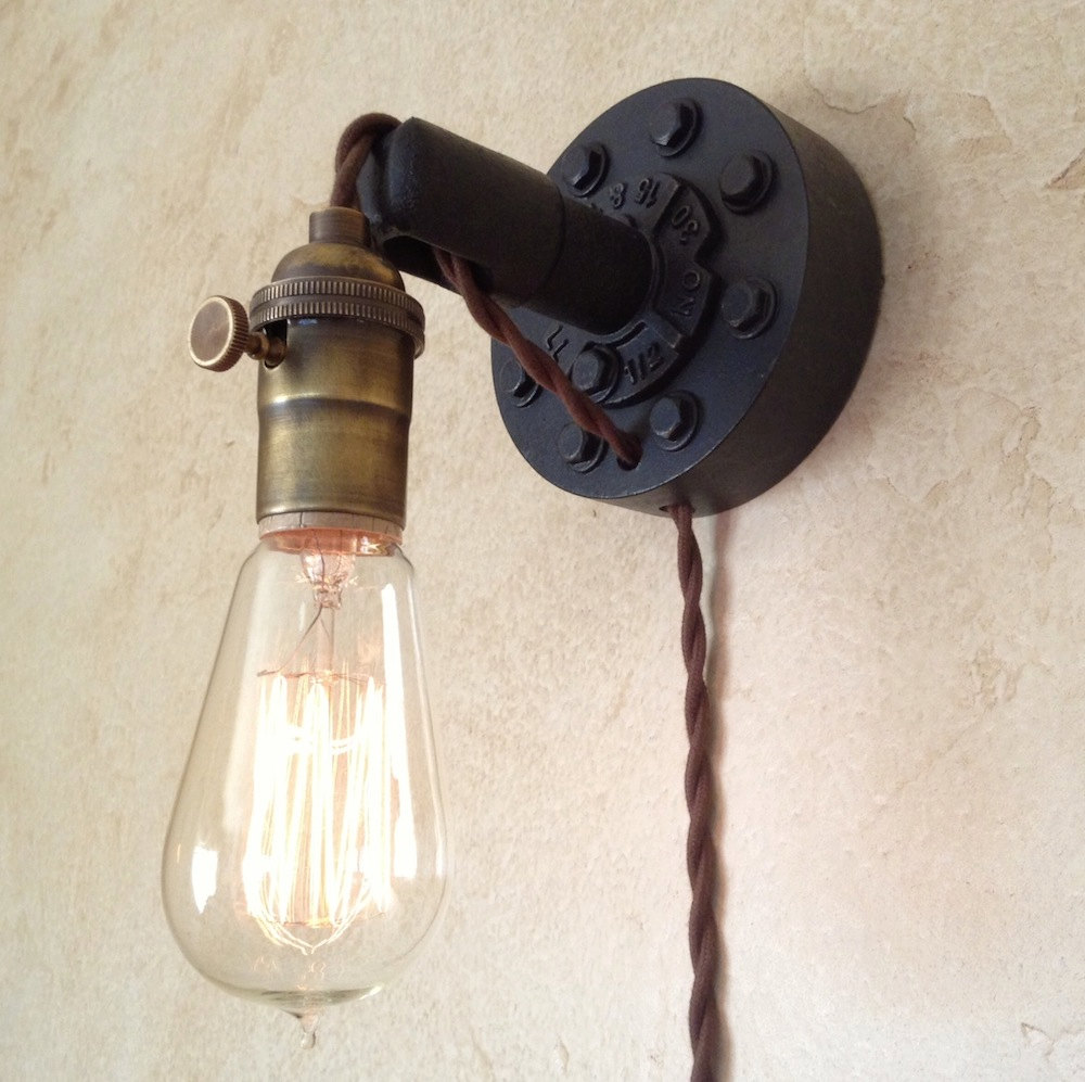 Image of: Plug in Industrial Wall Sconce Light