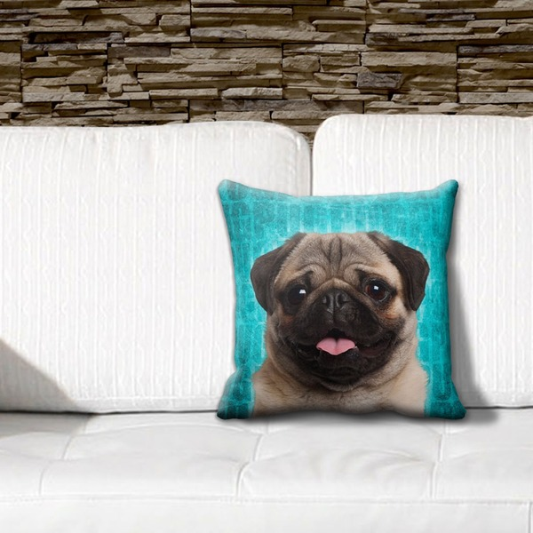 Pug Pillow Blue