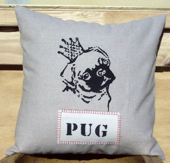 Image of: Pug Pillow Grey