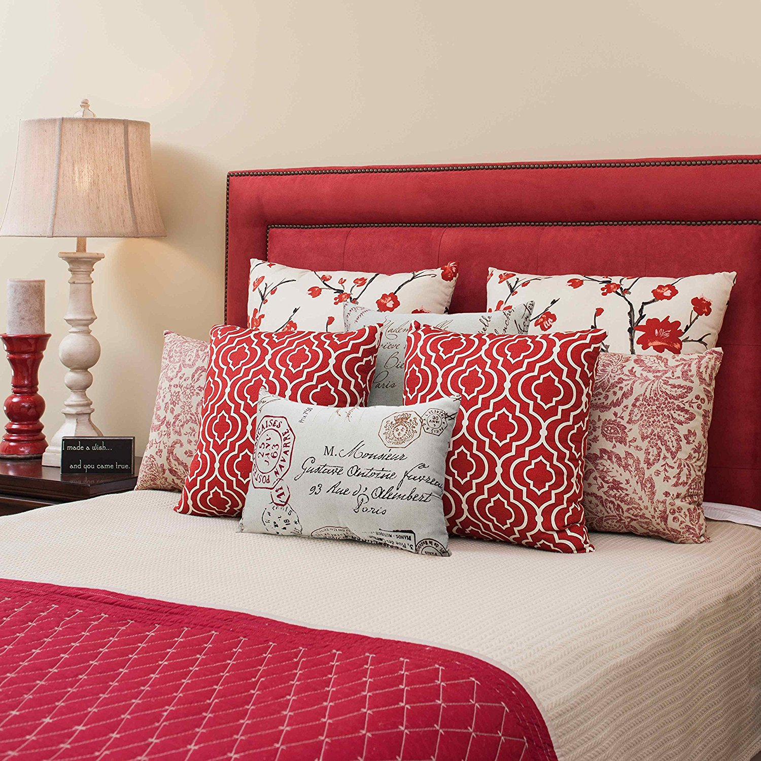 Image of: Red Throw Pillows Fabric
