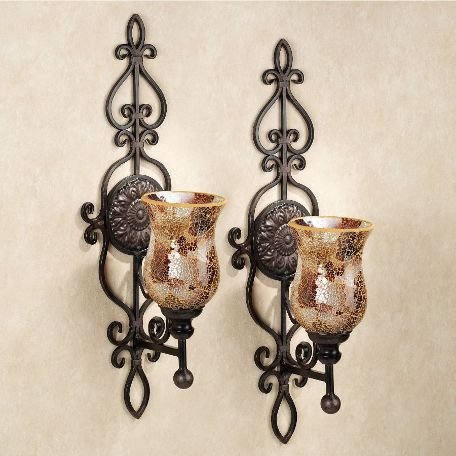 Rustic Bronze Candle Sconces