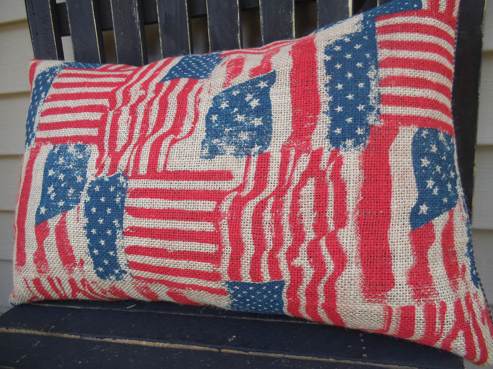 Image of: Rustic Pillow Covers Flag