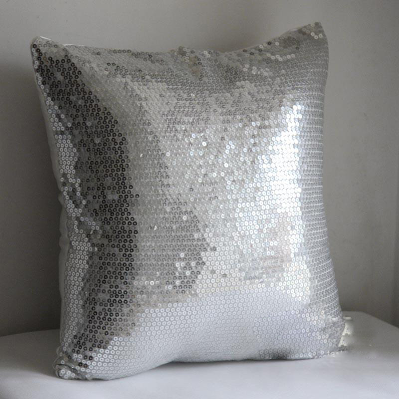 Silver Beaded Pillow Cover