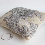 Silver Beaded Pillow Sewing