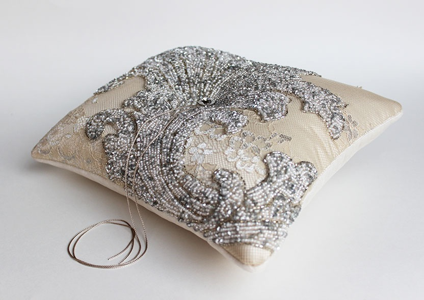 Image of: Silver Beaded Pillow Sewing