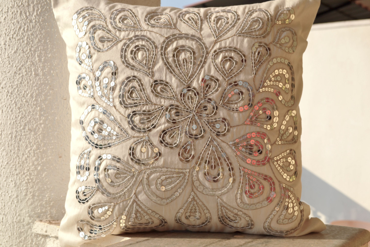 Image of: Silver Beaded Pillow Style