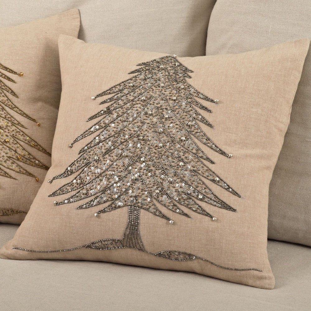 Silver Beaded Pillow Tree