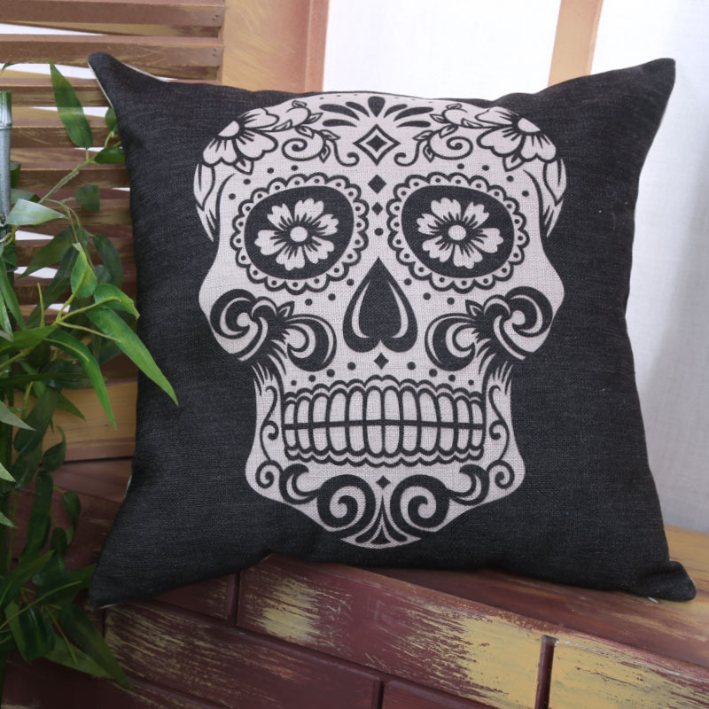 Image of: Skull Pillow Detail