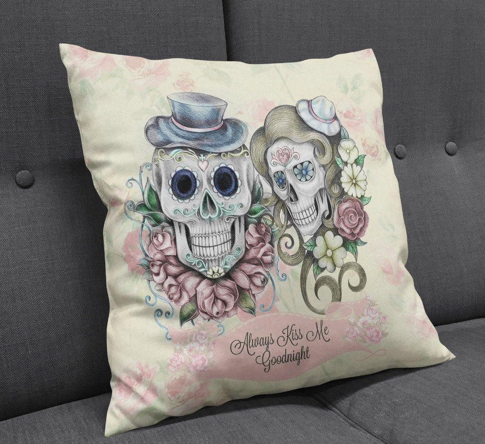Image of: Sugar Skull Pillow