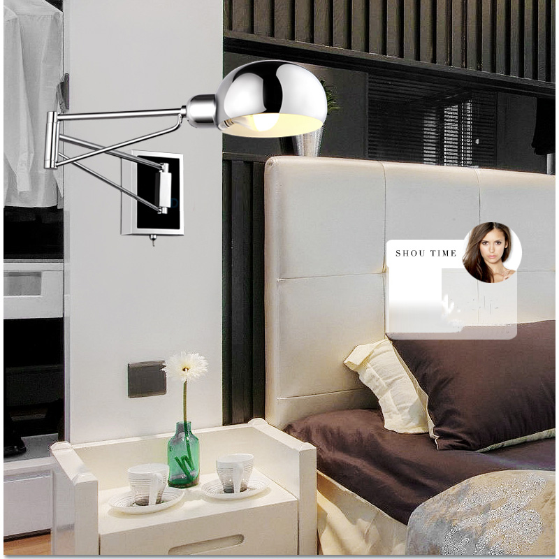 Image of: Swing Arm Bedside Wall Sconces