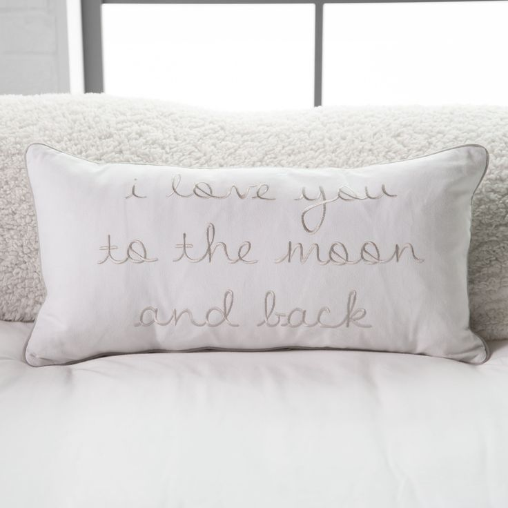 Image of: White To The Moon And Back Pillow