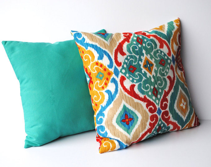 White and Turquoise Outdoor Pillows