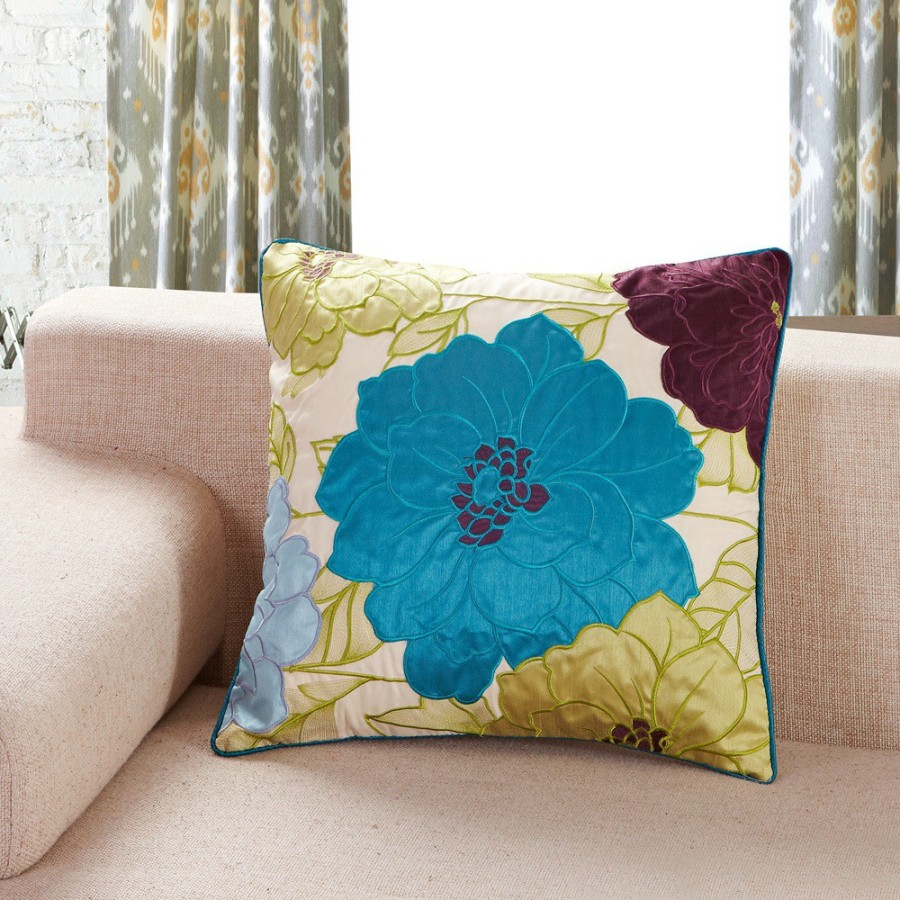 Yellow and Turquoise Throw Pillows