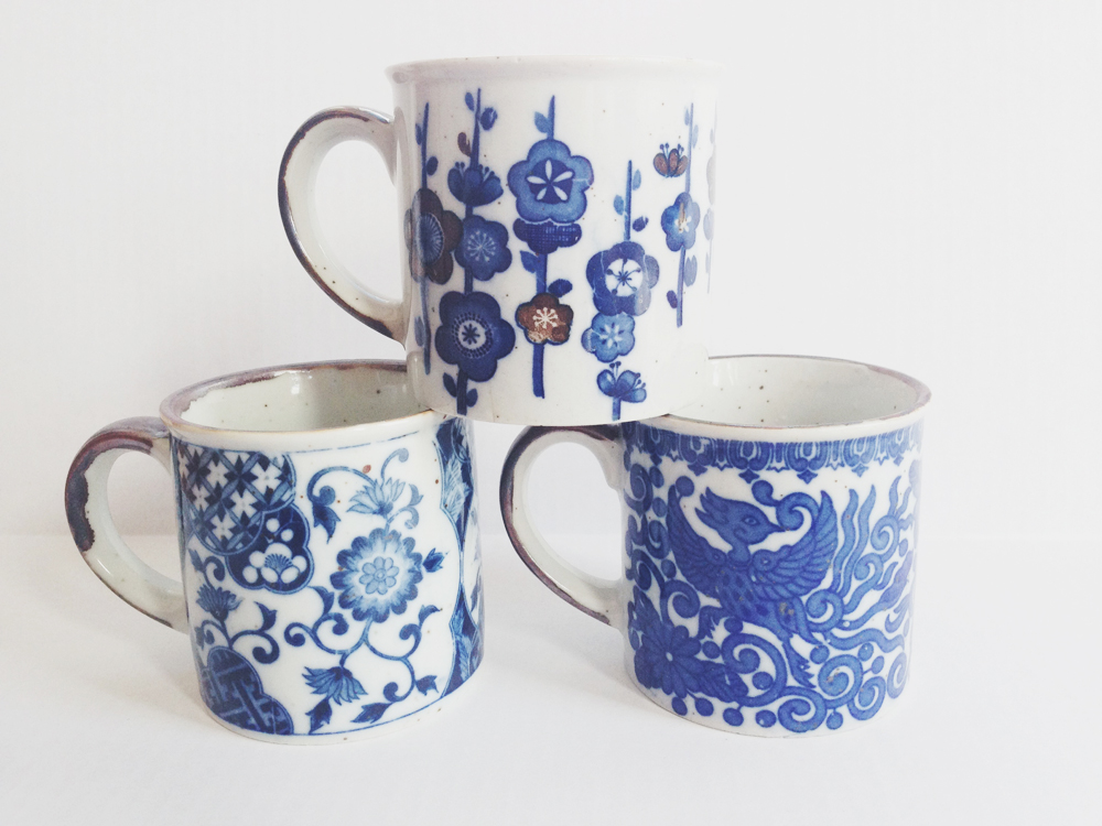 Image of: Blue Stoneware Mugs