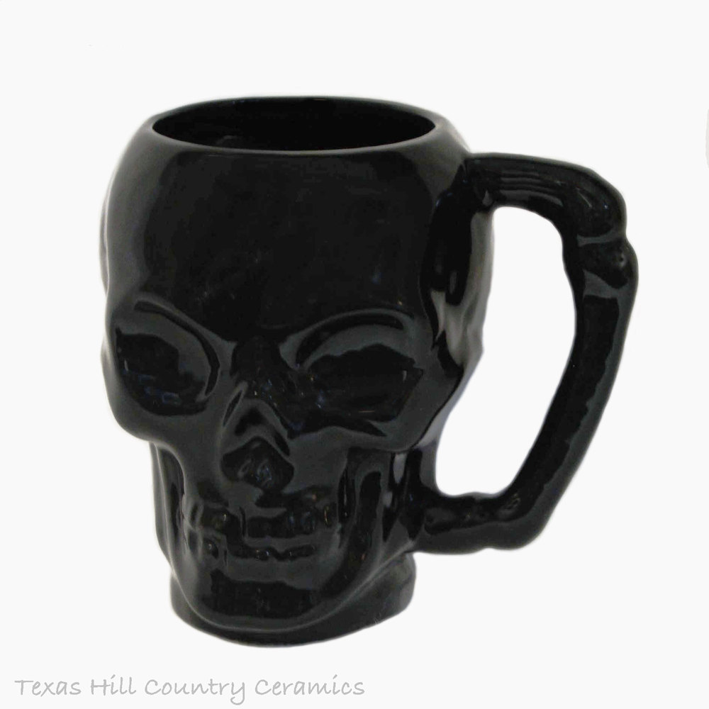 Image of: Ceramic Skull Mug Black