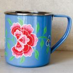 Enamel Mugs Flowers Paint