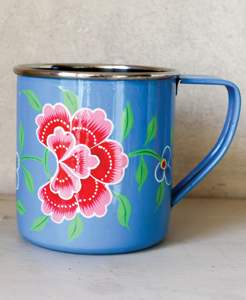 Image of: Enamel Mugs Flowers Paint