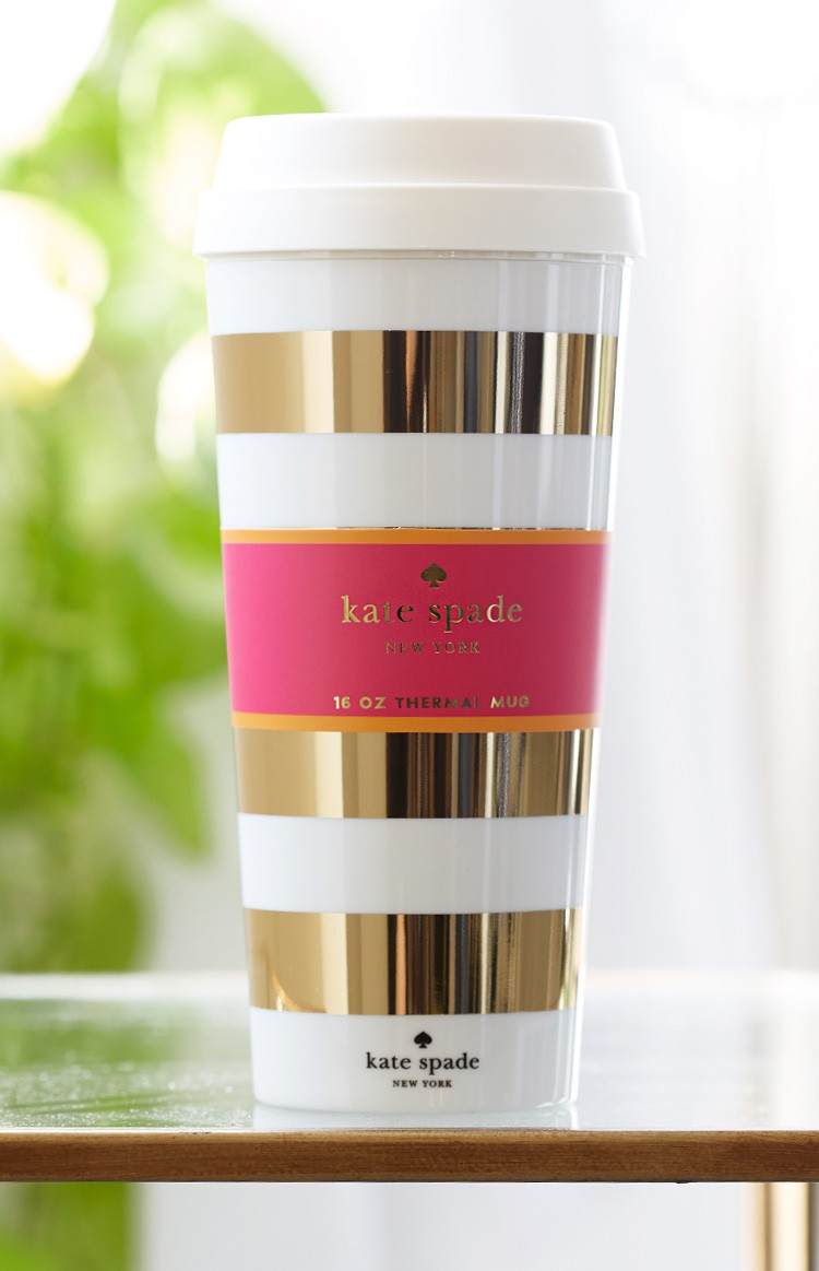 Image of: Gold Kate Spade Coffee Mug