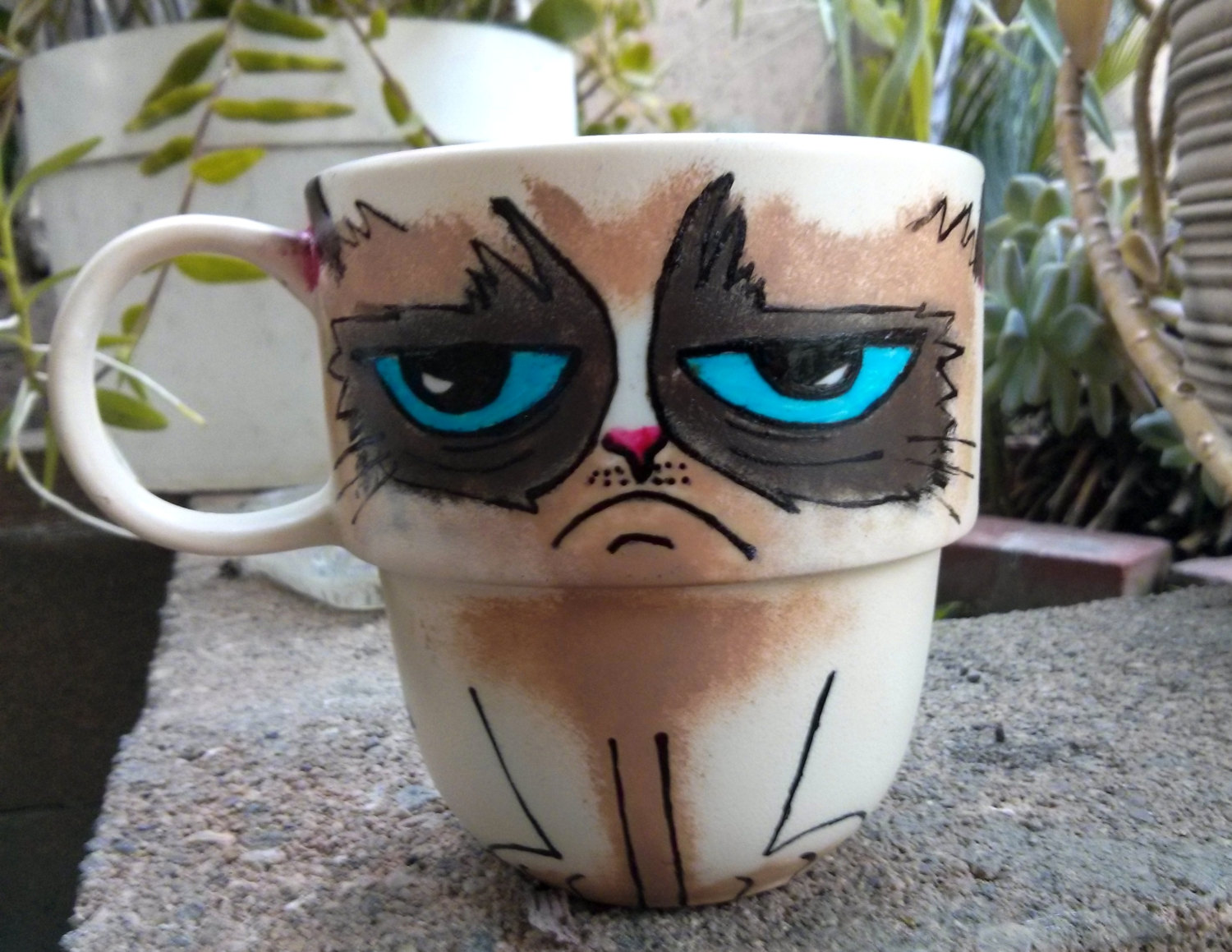Image of: Grumpy Cat Mug Hand Painted