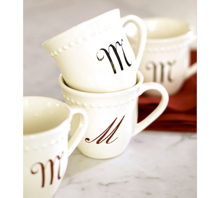 Image of: Monogrammed Coffee Mugs Cream