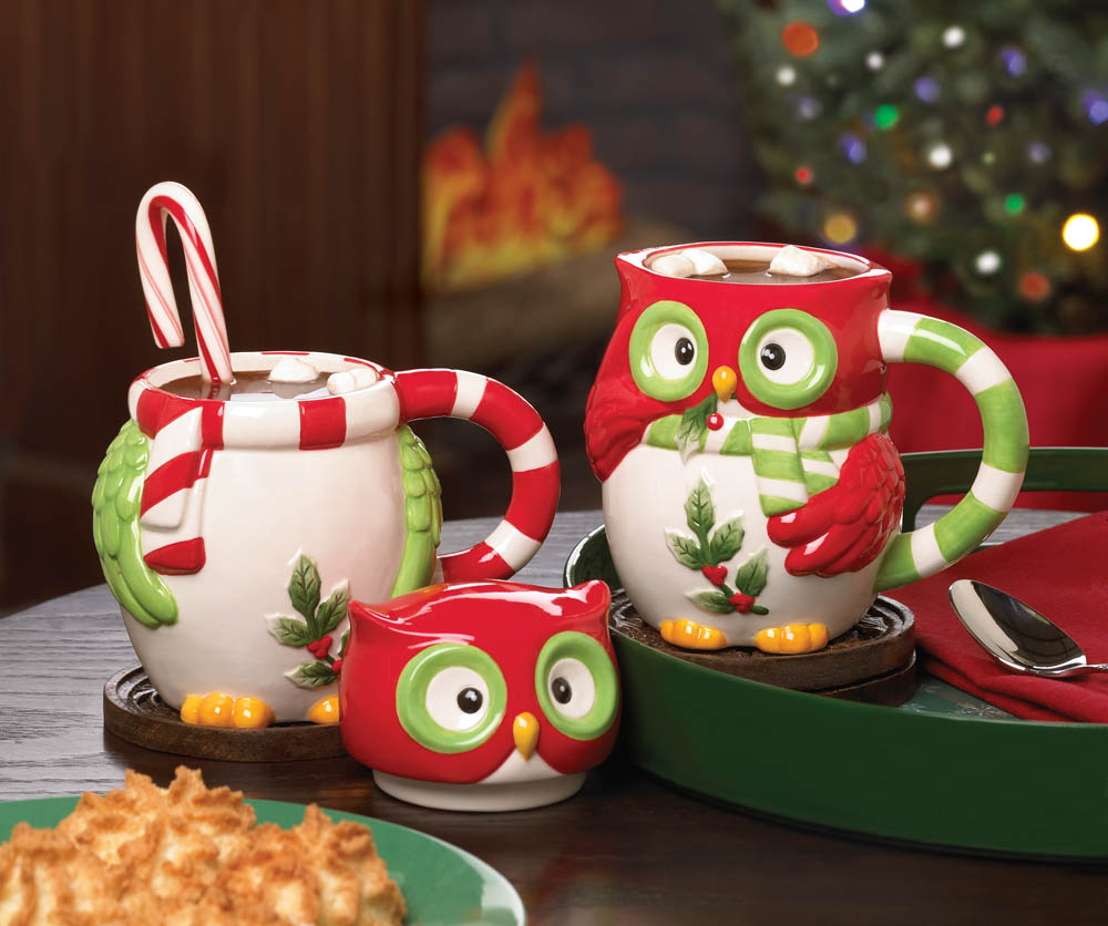 Image of: Owl Mugs Chrismast