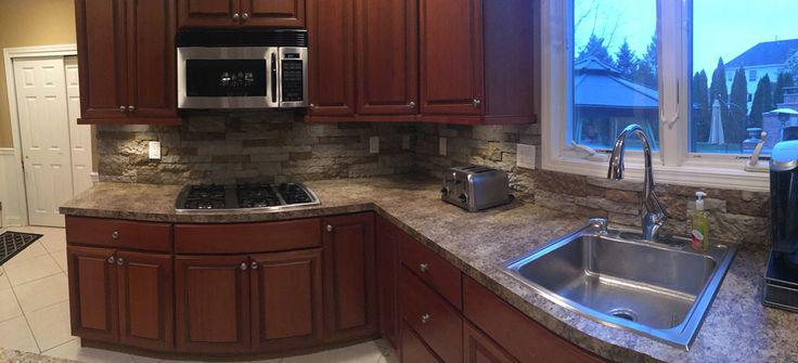 Image of: airstone backsplash installation