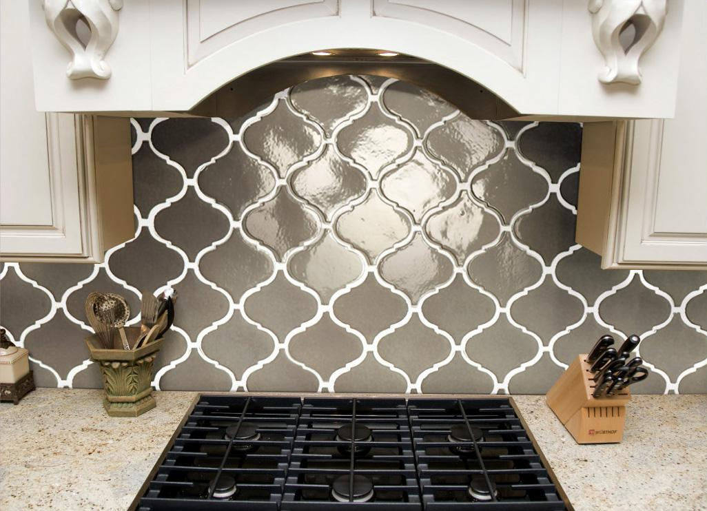 Image of: arabesque ceramic tile backsplash