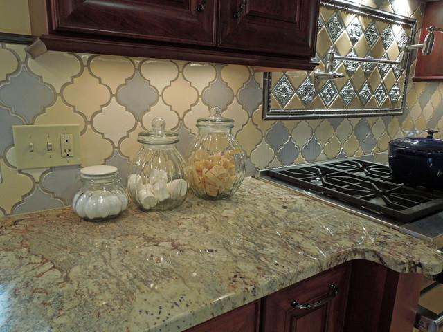 Image of: arabesque tile backsplash gray