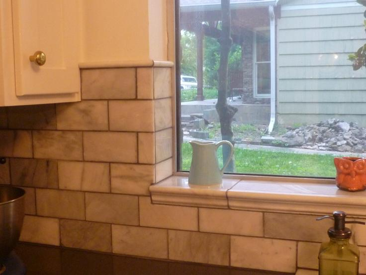 Image of: backsplash tile around window