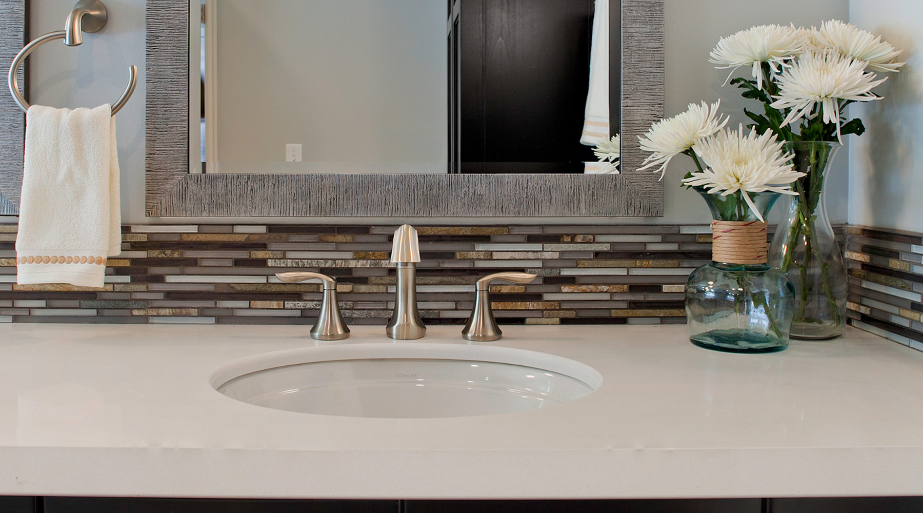 Image of: bathroom sink backsplash