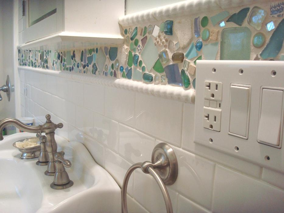Image of: beach glass backsplash