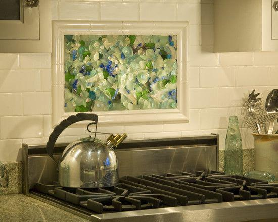 Image of: beach glass tile backsplash