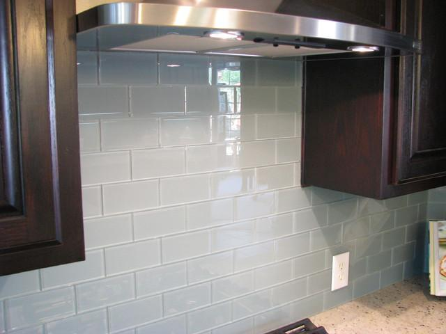 Image of: blue glass subway tile backsplash