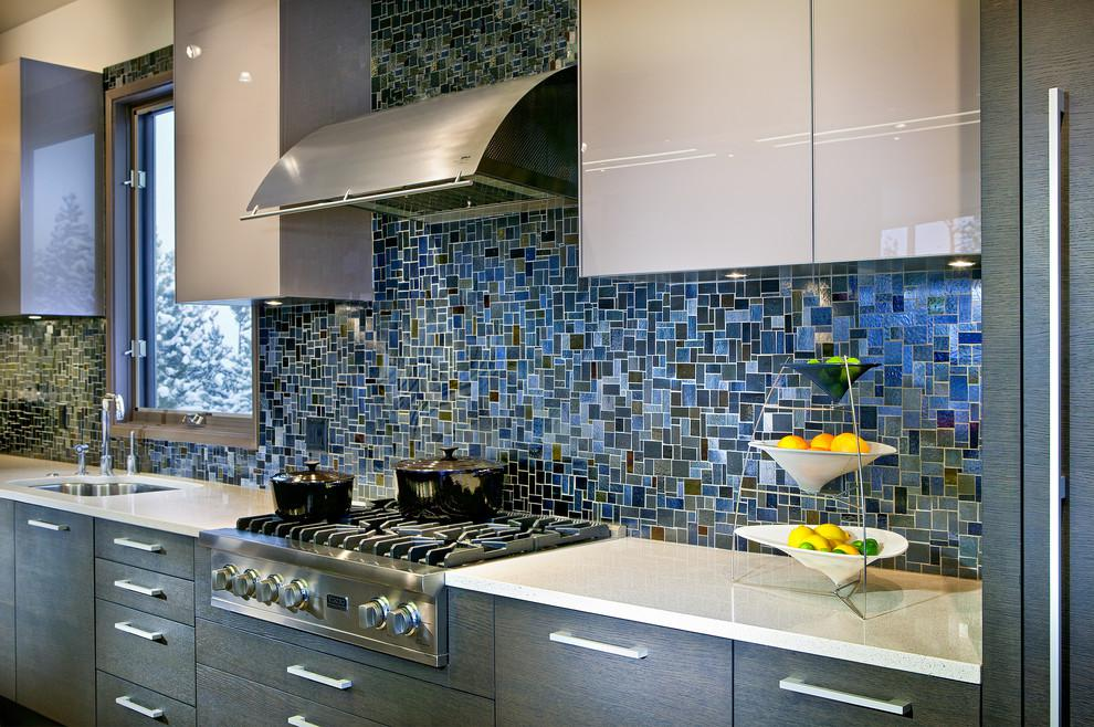 Image of: blue mosaic tile backsplash