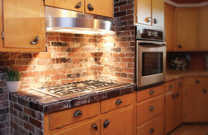 Image of: brick backsplash kitchen