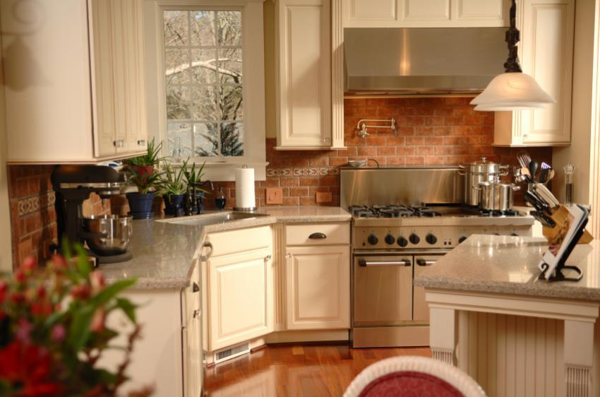Image of: brick kitchen backsplash