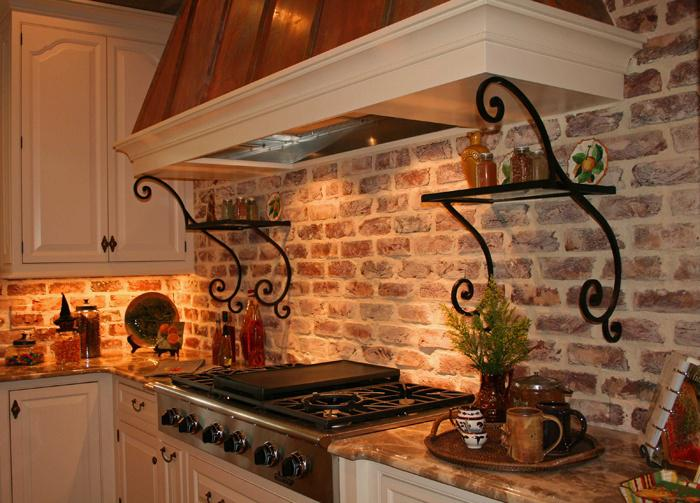 Image of: brick veneer backsplash