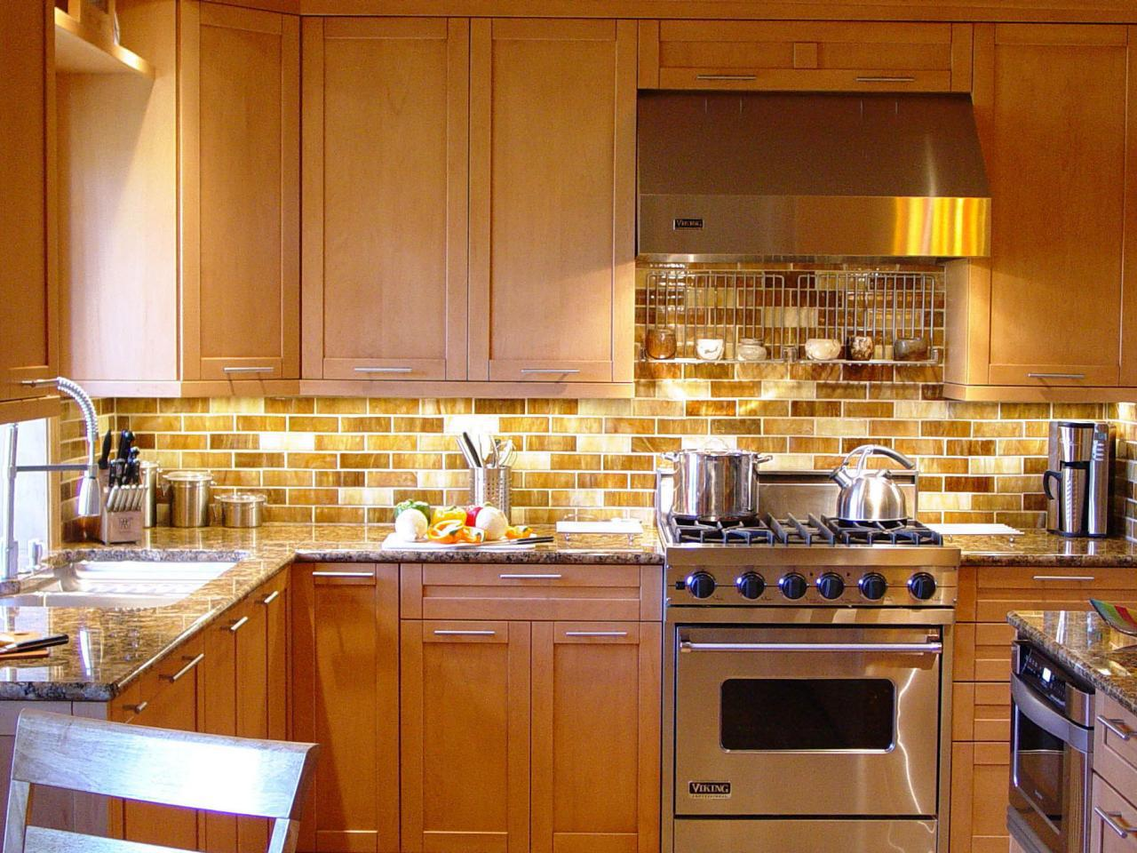 Image of: brown glass subway tile backsplash