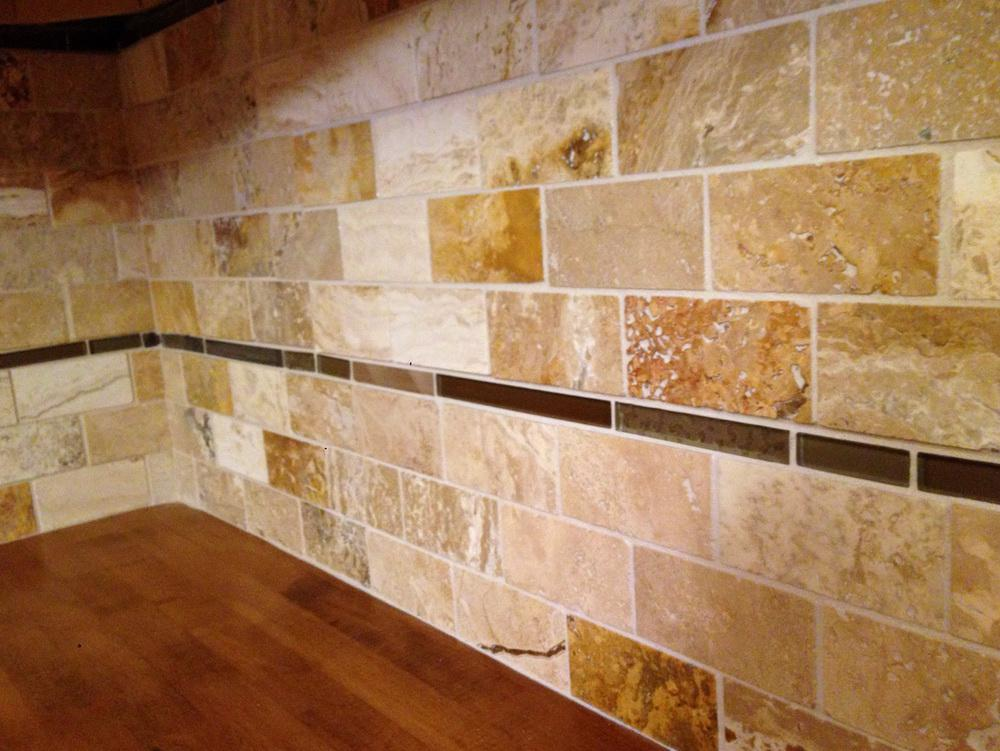 Image of: brown glass travertine mix backsplash tile