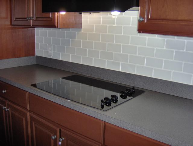 Image of: clear glass subway tile backsplash