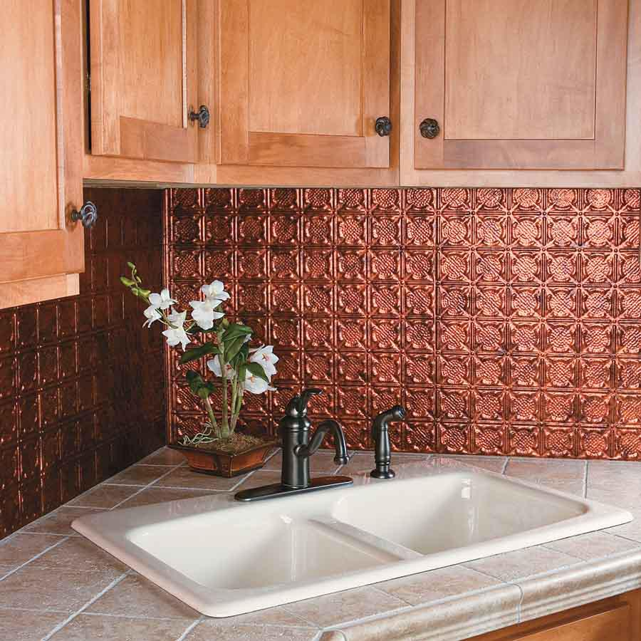 Image of: copper kitchen backsplash