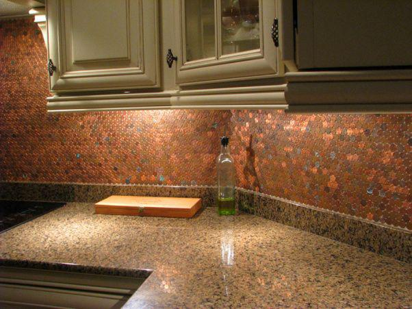 Image of: copper penny backsplash diy