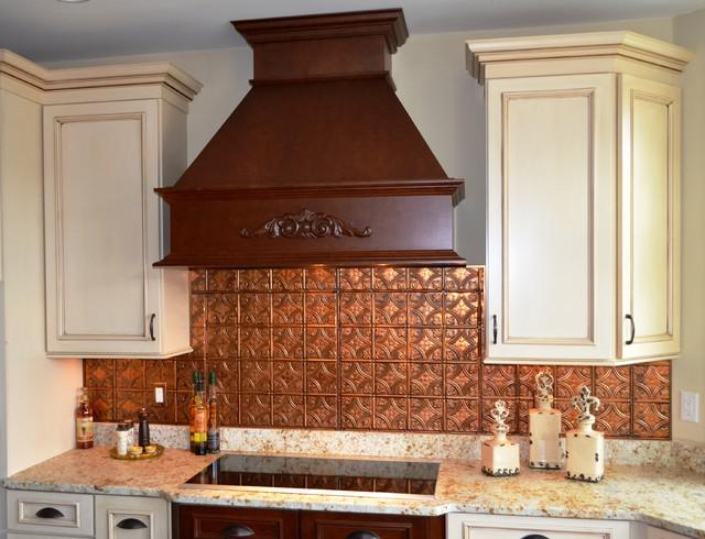 Image of: copper tin backsplash
