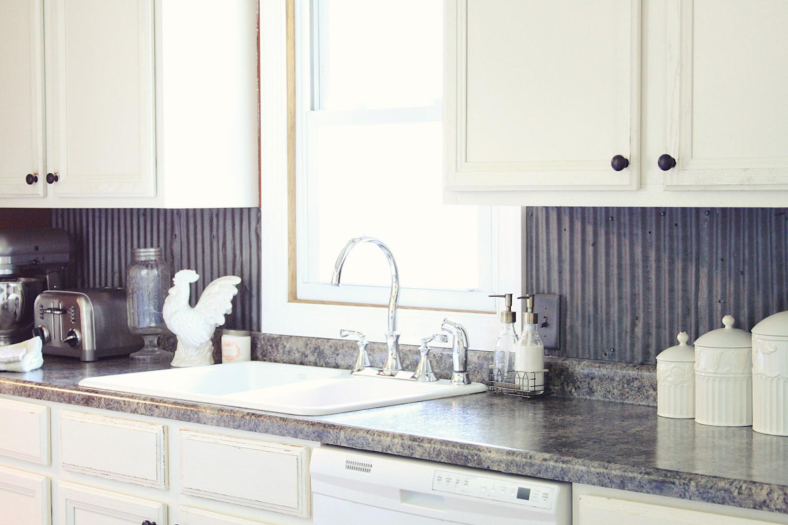 Image of: corrugated metal backsplash