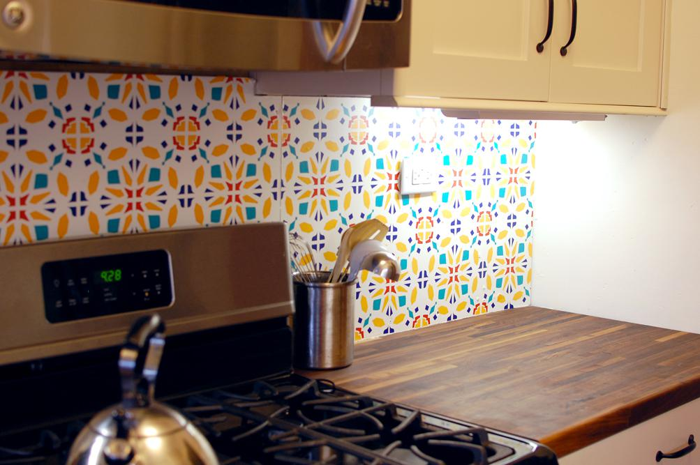 Image of: easy temporary backsplash
