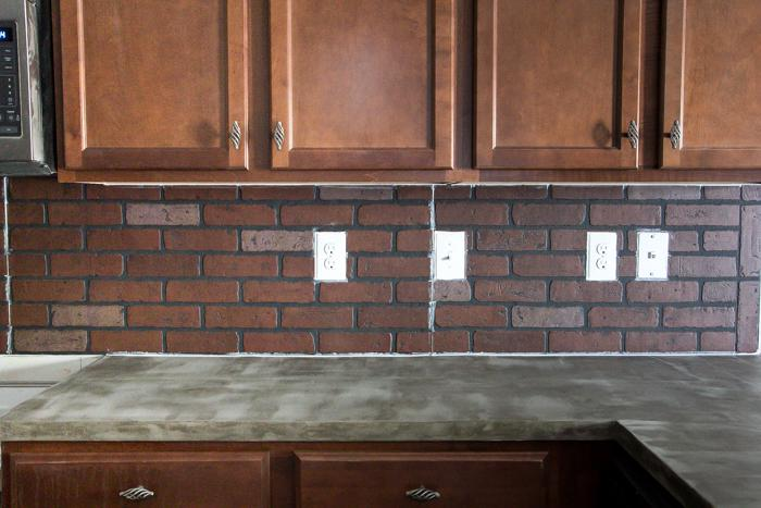 Image of: faux brick backsplash picture